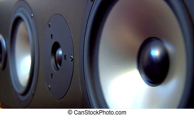 speaker two extreme loop - A close shot of two Loudspeakers....