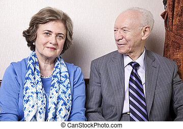 Happy Senior Couple - A high society senior couple (he's in...