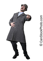 Bursting with Laughter - A person dressed in a gray overcoat...