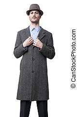 Damn Fine - A young adult dressed in a gray overcoat and a...