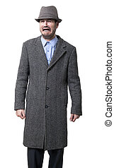Sobbing Mobster - A young adult male wearing a gray overcoat...