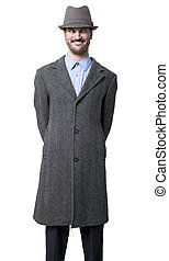 Cross Eyed Mobster - A young adult male wearing a gray...
