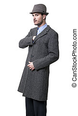 Inner Pocket Mobster - A person dressed in a gray overcoat...