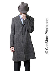 Tired Mysterious Mobster - A young adult male wearing a gray...