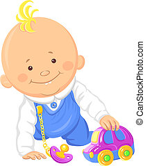 Vector cute baby boy playing with a toy car - Cute smiling...