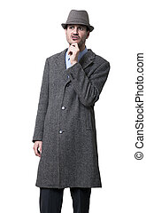 Pondering Mobster - A person dressed in a gray overcoat and...