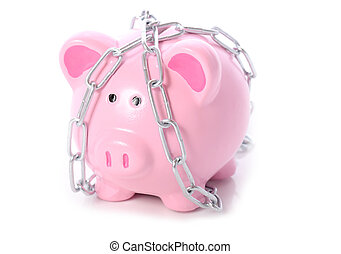piggy in chains - piggy bank wrapped in chains concept of...