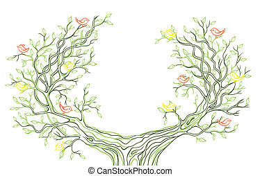 Vector background with green tree branches with birds