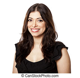 Isolated Happy Woman - Beautiful young adult Caucasian woman...