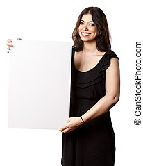 Isolated Happy Woman Holding Sign - Beautiful young adult...