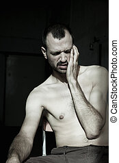 Migrane Misery - Portrait of an adult early 30s caucasian...