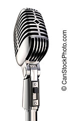 Retro Mic - 50\\\'s microphone on white, Includes clipping...