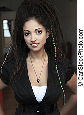Rasta Beauty - Beautiful young woman in her late 20's with...
