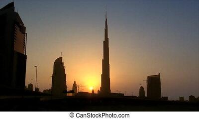 Dubai sundown skyline Burj Dubai - DUBAI - SEPTEMBER 9:...