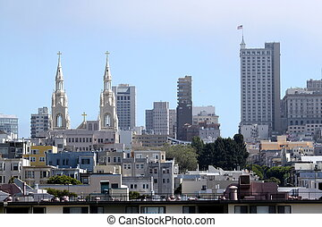San Francisco Skyline - San Francisco skyline with church...
