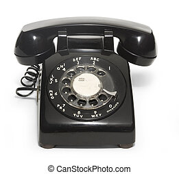 50\\\'s Telephone - Black 1950\\\'s telephone on a white...