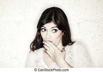 Cute Shy Guilty Girl - Portrait of a beautiful young woman...