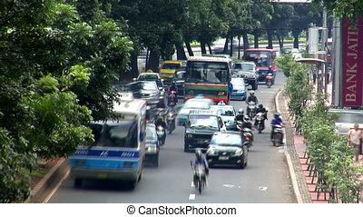 heavy asia city traffic close - Heavy asia city traffic...