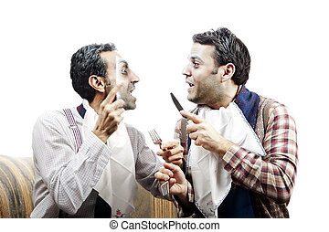 Wannabe Seniors Arguing at Dinner - Two adult man mid 30s...