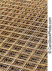 Rebar grid background - Steel rebar grid at construction...