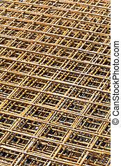 Rebar grid background - Steel rebar grid at construction...