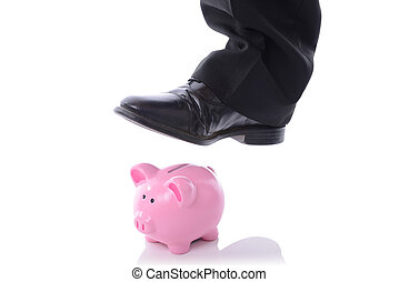 stomp on piggy bank - caoncep of breaking into saving or...