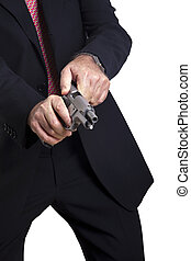 Cocking the Gun - A mature adult man wearing a suit, cocking...