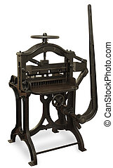 Vintage Printing Press - Vintage cast iron printing press,...