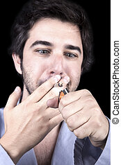 Reefer Maddness - Closeup of an adult man (30 years old),...