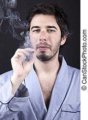 Stoned Bum - Medium closeup of an adult man (30 years old),...
