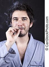 Satisfied Pothead - Medium closeup of an adult man (30 years...