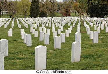 Arlington Cemetery - Field of headstones at Arlington...