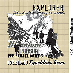 explorer expedition - illustration for shirt printed and...