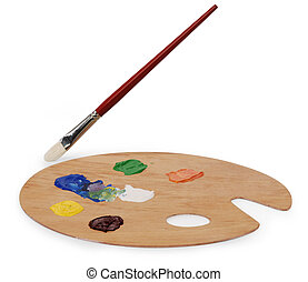 art palette and brush - wooden art palette with blobs of...