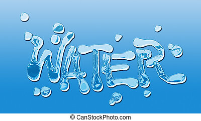 Water concept - Word water written with characters liquids....