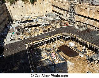 fundações, construção,  -, local