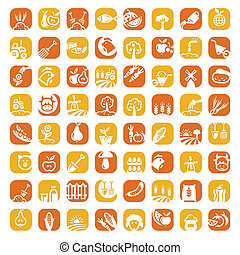 big color farm icon set - Elegant Agriculture Icons Set...