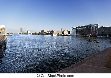 River Spree View from Oberbaumbr?cke - The river Spree in...