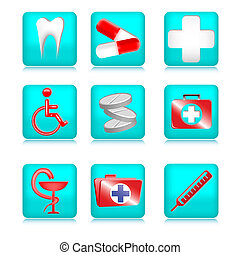Blue Medical Icons - Set of medical icons made in blue on a...