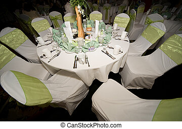 Wedding reception - Dining room table setting at wedding...