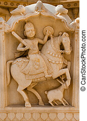 Maharaja image in Bada Bagh ruins, India - Royal rider image...