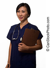 Health care worker - Young brunette asian woman health care...