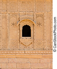 Small window with floral ornament, India - Small window with...