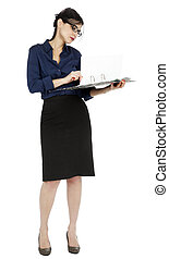 Business Woman Flipping Document Page - An adult (early...