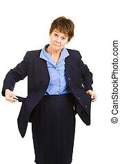 Businesswoman Flat Broke - Broke businesswoman showing her...