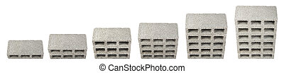 Construction Blocks Chart - High angle view six gray...