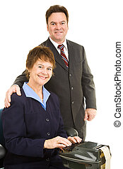 Court Reporter and Attorney - Portrait of a court reporter...