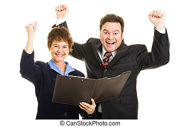 Ecstatic Business Partners - Male and female business...