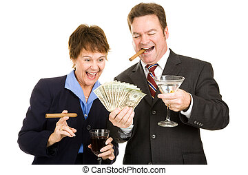 Greedy Business Partners - Business partners holding a wad...