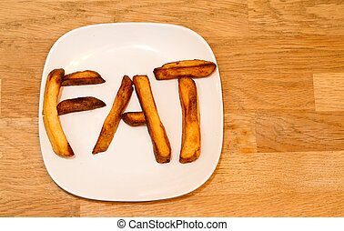 Oven baked potato chips on a white plate spelling FAT